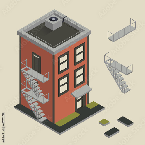 Stampa su Tela Isometric vector illustration of 3 floor living house from red bricks
