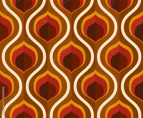Photo 70's retro seamless wallpaper pattern material / vector illustration
