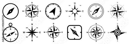 Fotografie, Obraz Compass set icons, navigation equipment sign, wind rose icon, compass symbol col