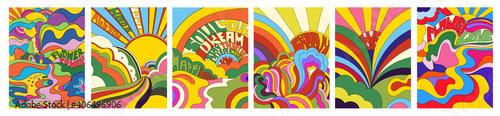 фотография Set of six vivid psychedelic landscapes