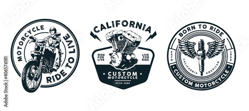 motorcycle template design for logo, badge, emblem and other