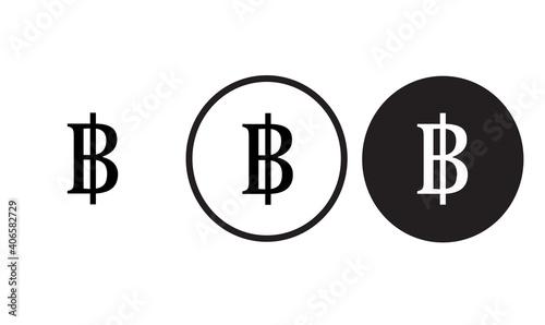 Obraz na plátne money icon thai baht   black outline logo for web site design and mobile dark mo