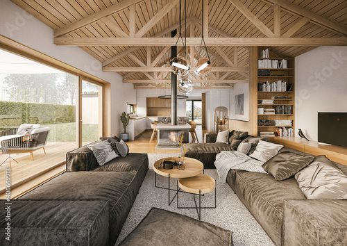 Obraz na plátně Interior of luxury wooden apartment with open roof stucture
