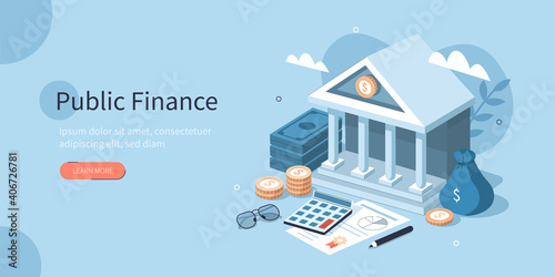 Coins, Banknotes, Financial Documents Lying Near Government Finance Department or Tax Office Column Building Fototapet