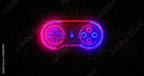 Photo Esport game pad symbol neon on brick wall illustration
