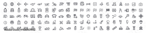 Set of 105 travel icons, thin line style, vector illustration