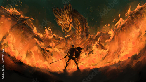 Fotografie, Obraz warrior standing confront dragon in the flames,tale monster,creatures of myth and Legend ,digital art, Illustration painting