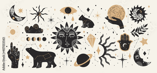 Fotografie, Tablou Collection of Mystical and Astrology objects in boho style
