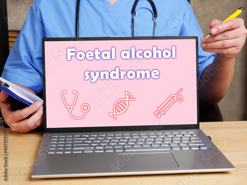 Carta da parati Medical concept meaning Foetal alcohol syndrome with inscription on the piece of paper