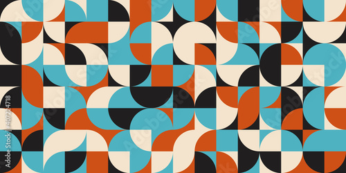 Obraz na plátně Modern vector abstract  geometric background with circles, rectangles and squares  in retro scandinavian style