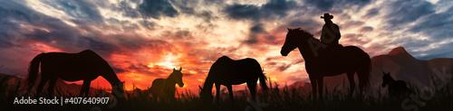 Obraz na płótnie silhouette of a horse breeder cowboy at sunset