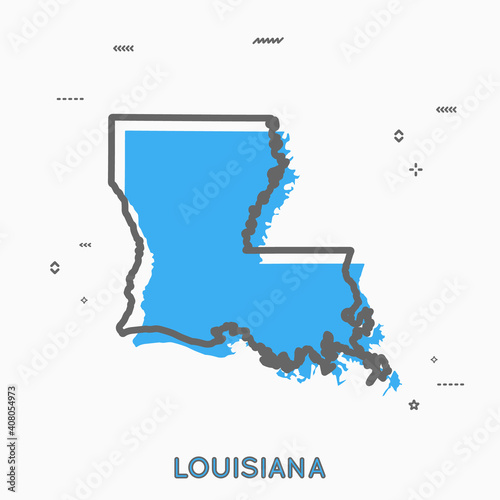 Louisiana map in thin line style фототапет