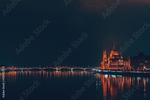 Fototapeta Hungarian Parliament Building at Night