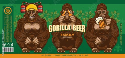Fotografie, Obraz Beer Label Design With Three Wise Gorillas With Beer
