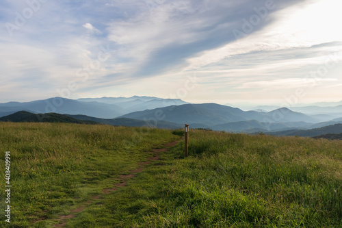 Canvastavla Appalachian Trail at sunset, view from Max Patch bald over the Great Smoky Mount