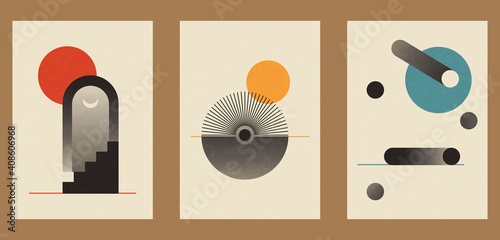 Fotografie, Obraz A set of three colorful aesthetic geometric backgrounds