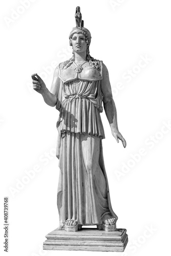 Obraz na plátně Ancient Greek Roman statue of goddess Athena god of wisdom and the arts historical sculpture isolated on white