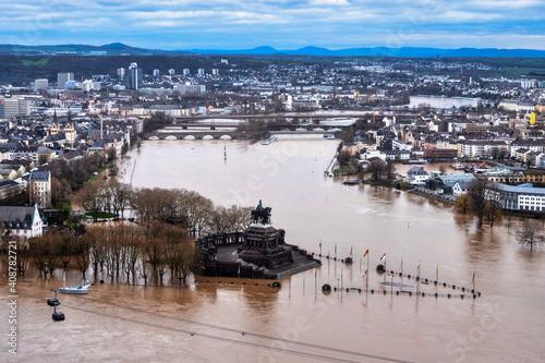Flooding after heavy rainfall in Koblenz, Deutsches Eck Fototapeta