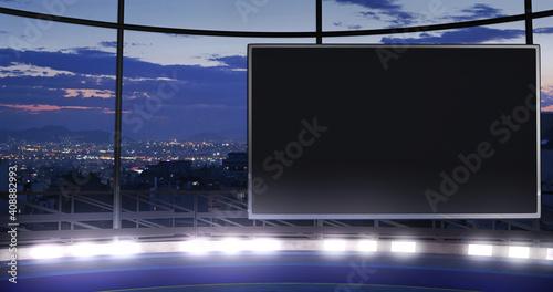 Fotografía Industrial TV show backdrop with an empty screen
