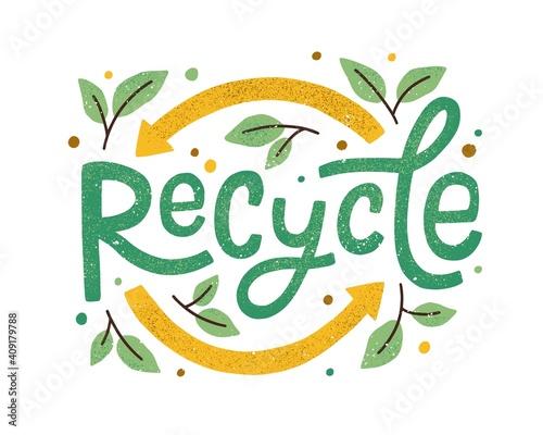 Obraz na płótnie Modern eco sticker with recycle sign, arrows and leaves