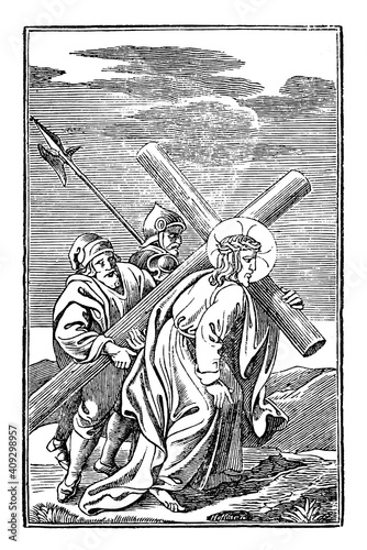 Fotografia 5th or fifth Station of the Cross or Way of the Cross or Via Crucis