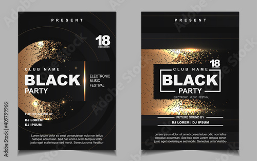 Luxury night dance party music layout cover design template background with elegant black and gold style. Light electro style vector for music event concert disco, club invitation, festival poster
