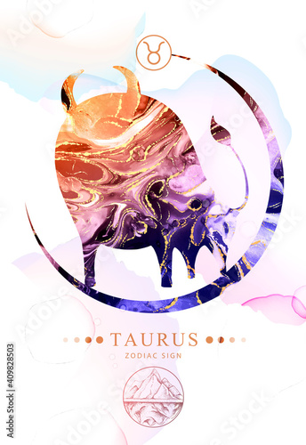 Fotografie, Obraz Modern magic witchcraft card with astrology Taurus zodiac sign  with alcohol ink texture