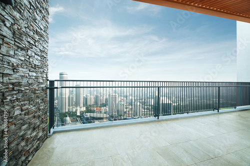 Fotografía Modern balcony with cityscape view. 3D rendering