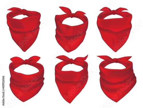 Canvas-taulu Red bandanas, face mask or neck scarfs mockup