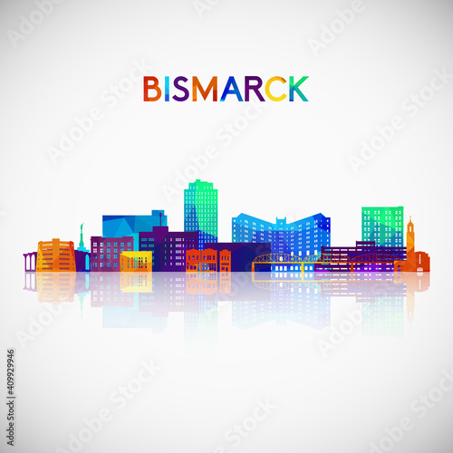 Photographie Bismarck skyline silhouette in colorful geometric style
