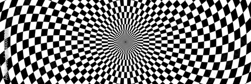 Fototapeta premium Vector illustration of checkered pattern with optical illusion. Op art abstract background. Long horizontal banner.