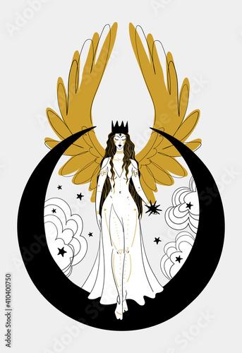 Fotografia, Obraz Mystical goddess woman or angel with golden wings, divine boho design