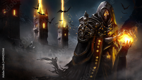 Fototapeta premium The sinister skeleton lich forms a sphere of fire in his hands, his eyes glowing with magic, he is wearing a ragged cloak and armor, and behind him, the magic towers fire a volley into the night sky.