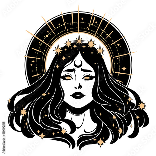 Fotografie, Obraz beautiful face woman with fluttering hair in a golden crown of stars with a halo