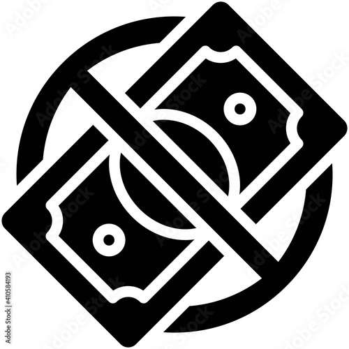 Fotomural No Banknote sign icon, Bankruptcy related vector