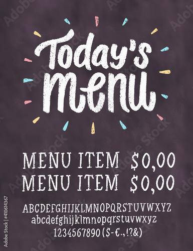 Fototapeta Today's menu. Chalkboard menu. Vector handwritten lettering.