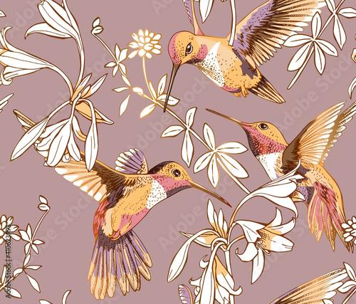 Obraz na płótnie Seamless floral pattern