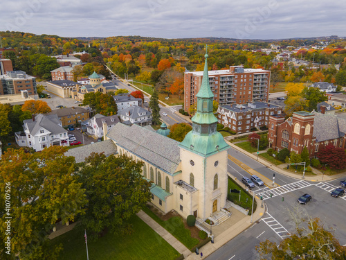 Fotografie, Obraz Trinity Lutheran Church at 73 Lancaster Street in historic downtown of Worcester, Massachusetts MA, USA