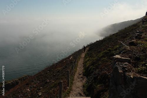 Fototapeta High Angle View Of Sea And Mountains Against Sky