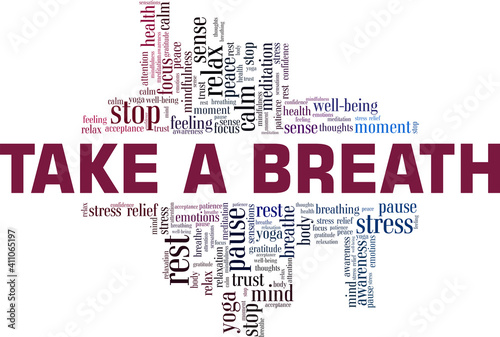 Foto Take a breath vector illustration word cloud isolated on a white background