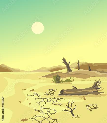 Fotografija Climate change desertification illustration