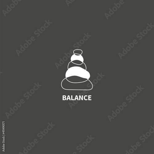 Foto Stack stones logo. Wellbeing, harmony and balance icon