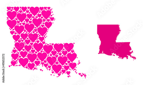 фотография Love mosaic and solid map of Louisiana State
