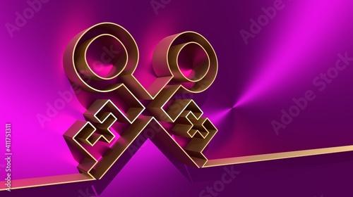 Fotografia, Obraz Thin line style crossed keys. Symbol of the papacy. 3D rendering