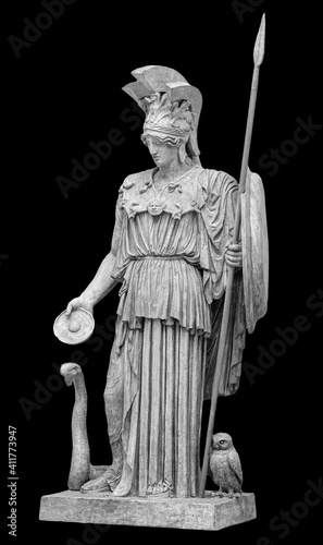 Fotografie, Obraz Ancient Greek Roman statue of goddess Athena god of wisdom and the arts historical sculpture isolated on black