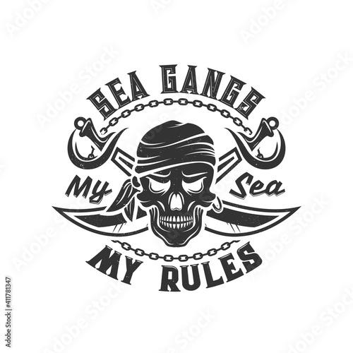 Fototapeta Tshirt print with pirate skull in bandana and crossed sabers