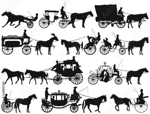 Fotografía antique and new horse drawn coach carriage vector silhouette collection