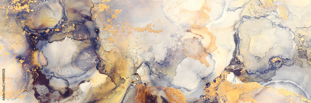 art photography of abstract fluid art painting with alcohol ink, black, gray and gold colors
