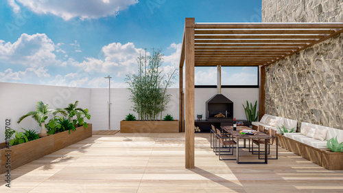 Photo 3D render of urban terrace with cozy fireplace.