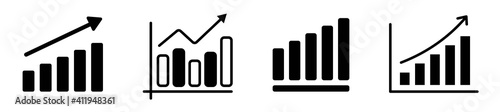 Tableau sur Toile Set of growing bar graph icon in black on a white background